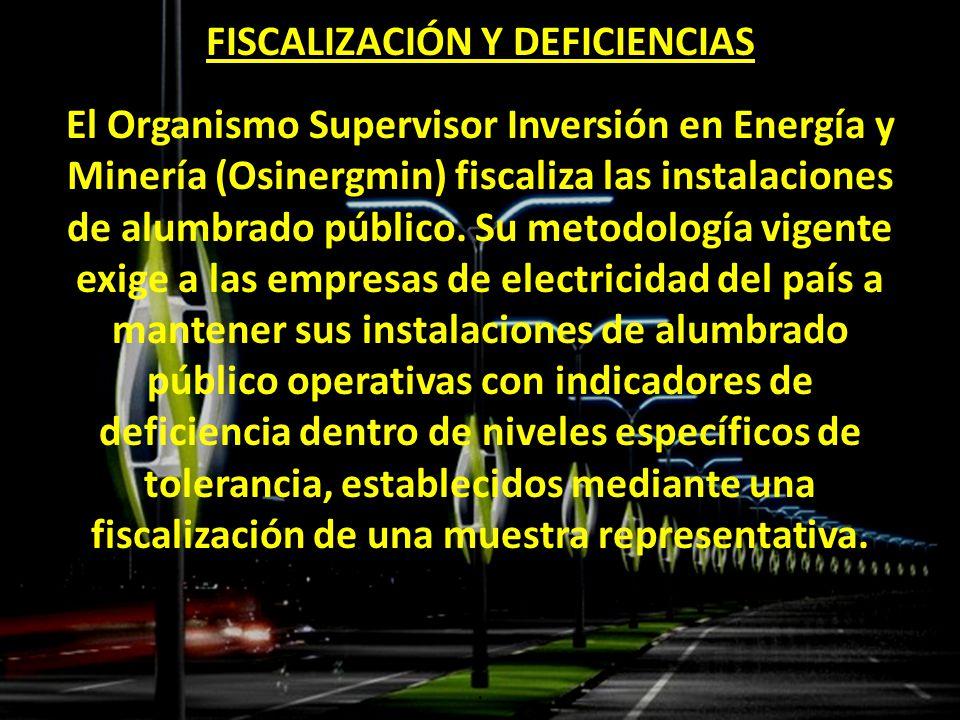 FISCALIZACIÓN Y DEFICIENCIAS El Organismo Supervisor Inversión en Energía y Minería (Osinergmin) fiscaliza las instalaciones de alumbrado público. Su