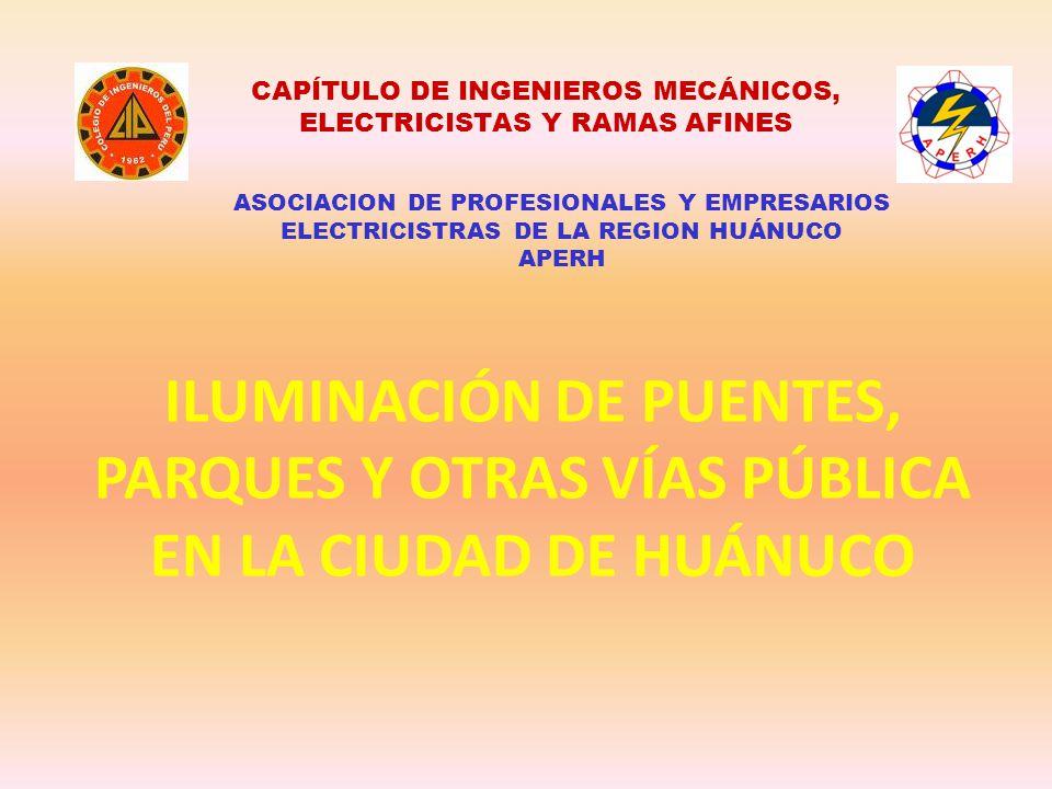 CAPÍTULO DE INGENIEROS MECÁNICOS, ELECTRICISTAS Y RAMAS AFINES ASOCIACION DE PROFESIONALES Y EMPRESARIOS ELECTRICISTRAS DE LA REGION HUÁNUCO APERH ILU