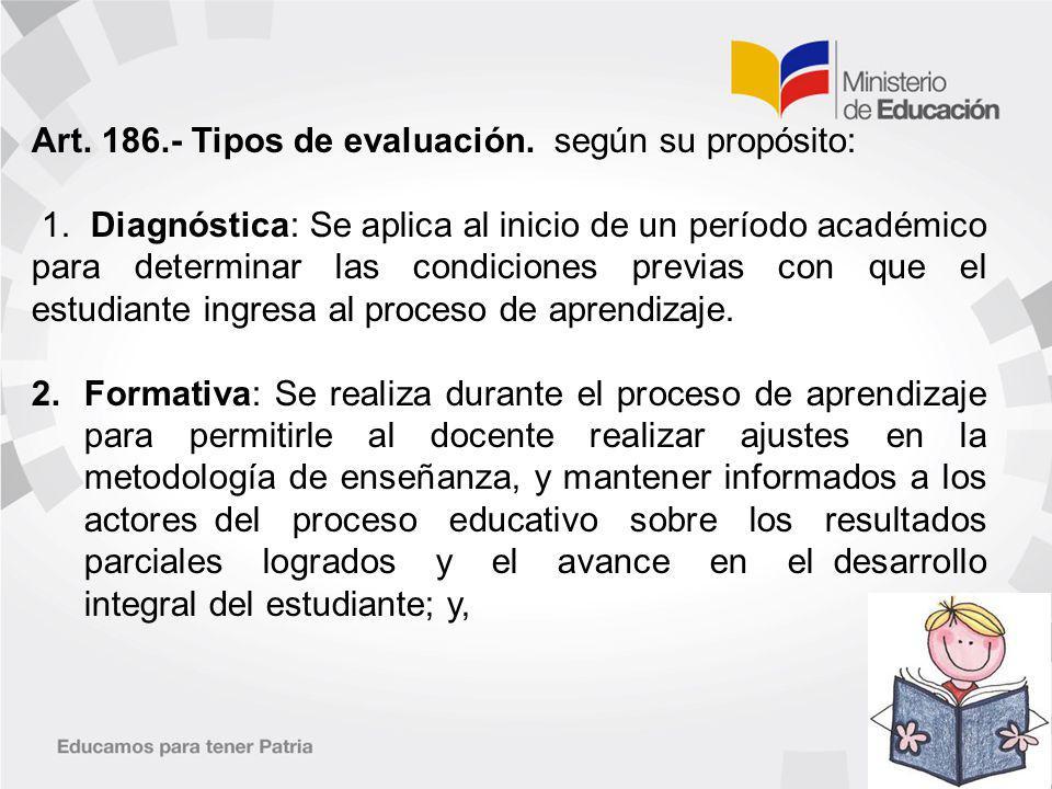 Art.186.- Tipos de evaluación. según su propósito: 1.