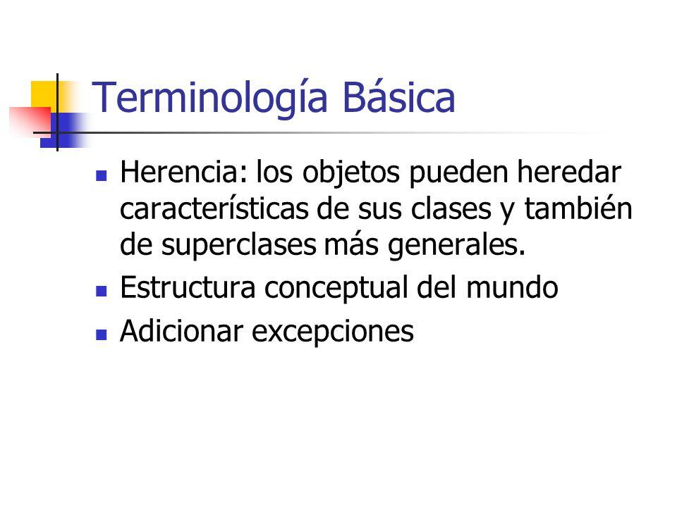 Terminología Básica Herencia: los objetos pueden heredar características de sus clases y también de superclases más generales.