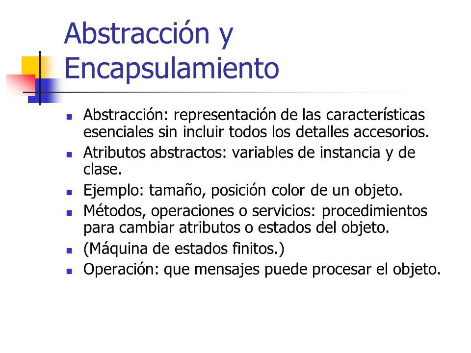 Abstracción y Encapsulamiento Abstracción: representación de las características esenciales sin incluir todos los detalles accesorios. Atributos abstr