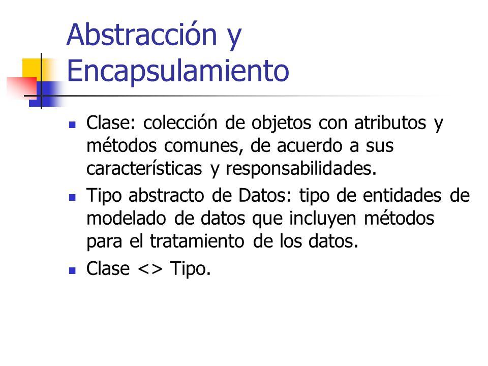 Abstracción y Encapsulamiento Clase: colección de objetos con atributos y métodos comunes, de acuerdo a sus características y responsabilidades. Tipo