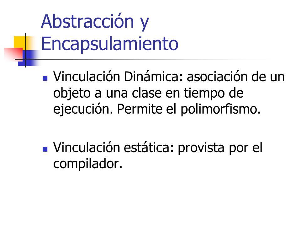 Abstracción y Encapsulamiento Vinculación Dinámica: asociación de un objeto a una clase en tiempo de ejecución. Permite el polimorfismo. Vinculación e