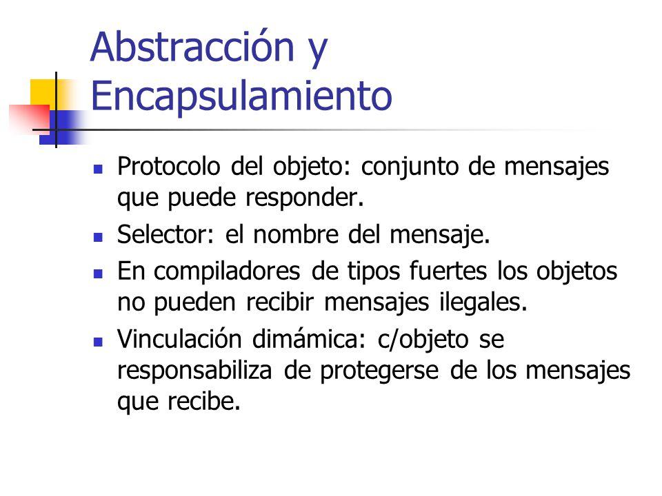 Abstracción y Encapsulamiento Protocolo del objeto: conjunto de mensajes que puede responder. Selector: el nombre del mensaje. En compiladores de tipo