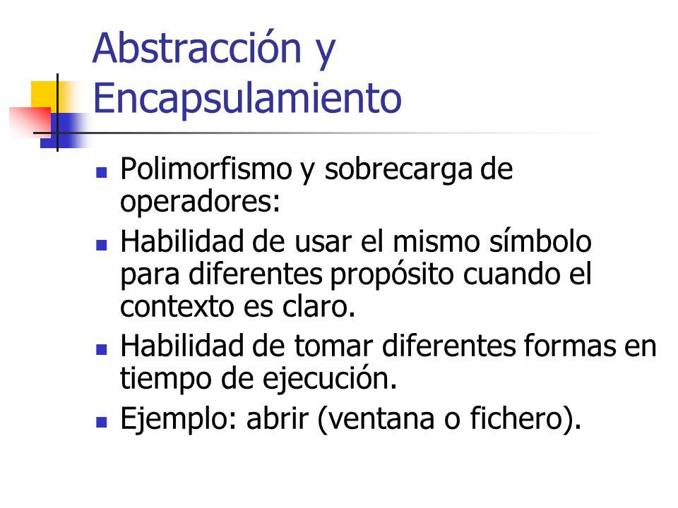Abstracción y Encapsulamiento Polimorfismo y sobrecarga de operadores: Habilidad de usar el mismo símbolo para diferentes propósito cuando el contexto