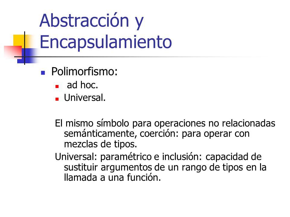 Abstracción y Encapsulamiento Polimorfismo: ad hoc. Universal. El mismo símbolo para operaciones no relacionadas semánticamente, coerción: para operar