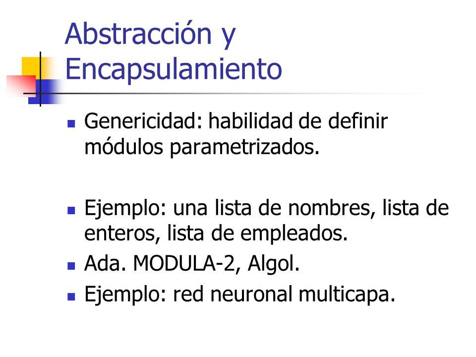 Abstracción y Encapsulamiento Genericidad: habilidad de definir módulos parametrizados. Ejemplo: una lista de nombres, lista de enteros, lista de empl