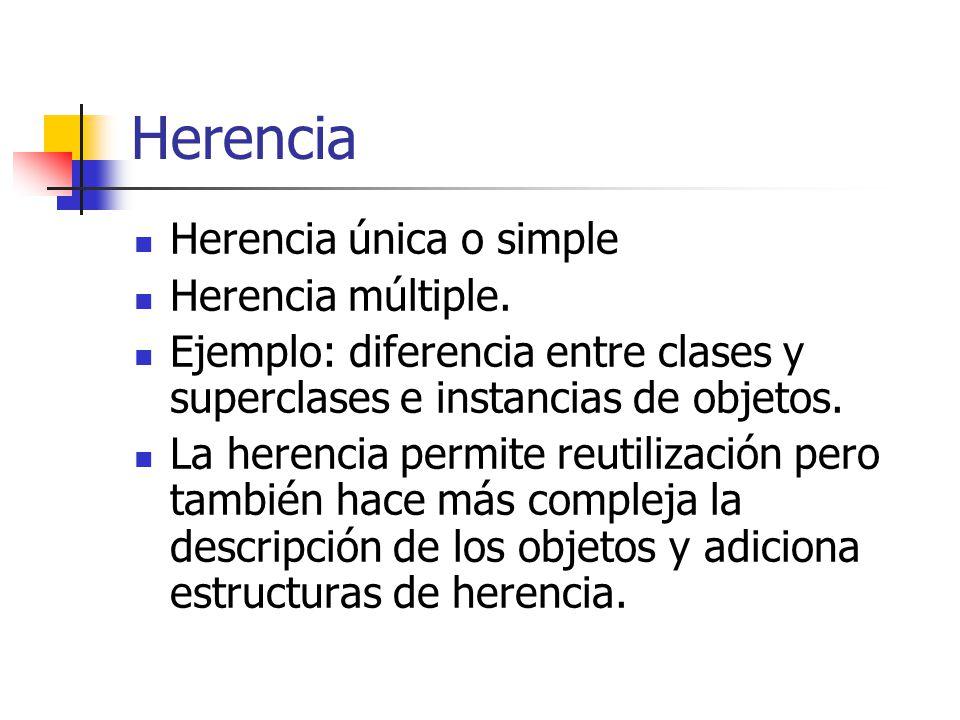 Herencia Herencia única o simple Herencia múltiple. Ejemplo: diferencia entre clases y superclases e instancias de objetos. La herencia permite reutil