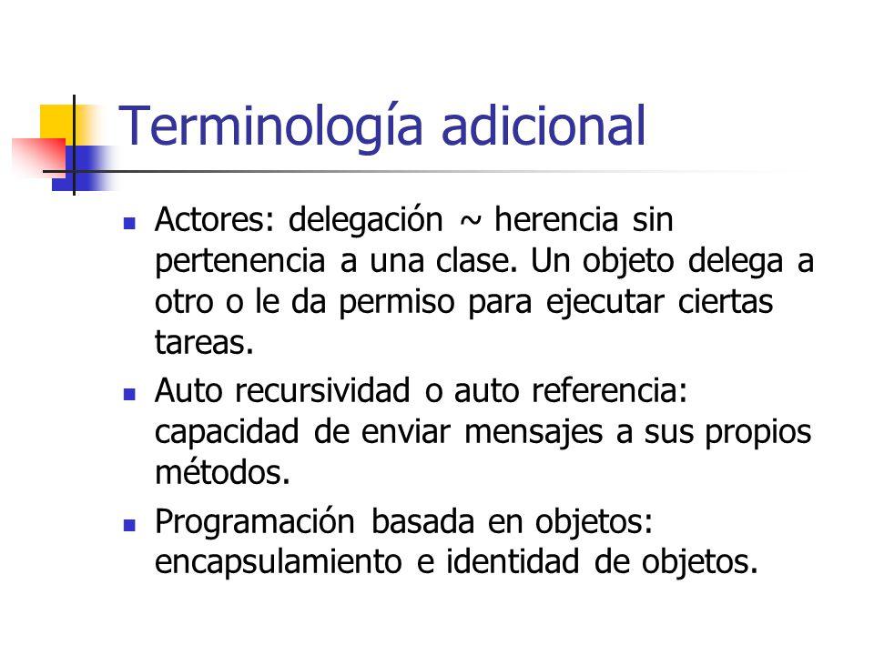 Terminología adicional Actores: delegación ~ herencia sin pertenencia a una clase. Un objeto delega a otro o le da permiso para ejecutar ciertas tarea