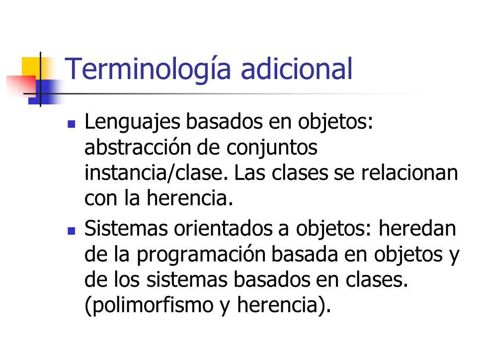 Terminología adicional Lenguajes basados en objetos: abstracción de conjuntos instancia/clase. Las clases se relacionan con la herencia. Sistemas orie