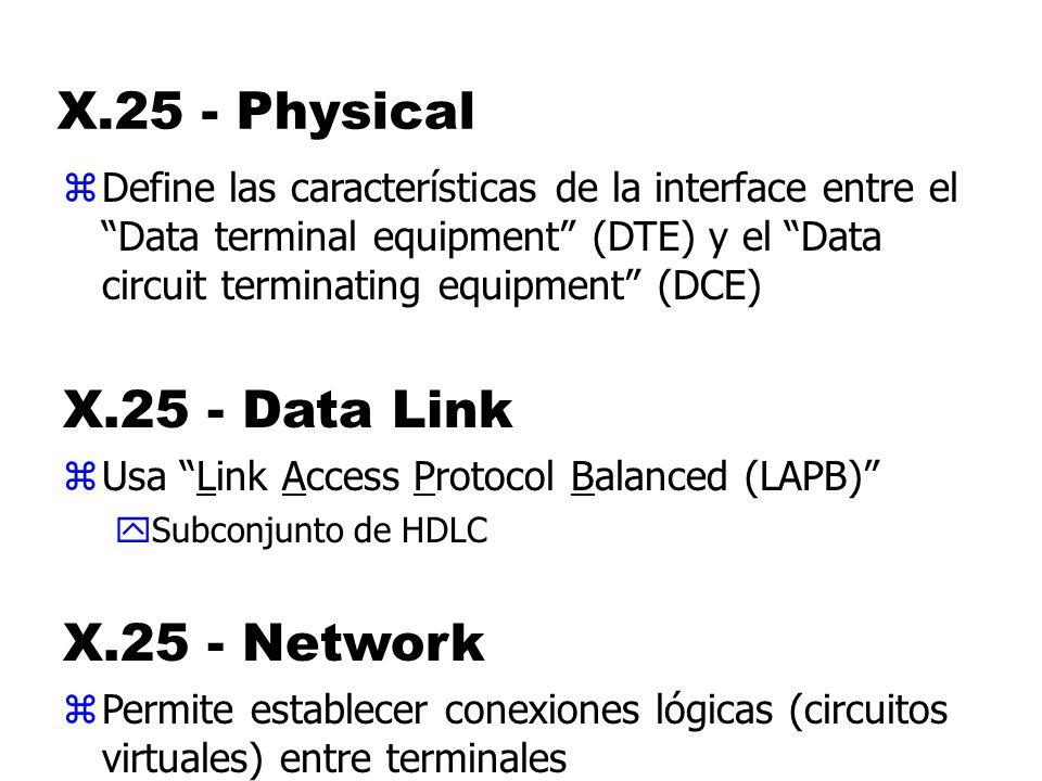 X.25 - Physical zDefine las características de la interface entre el Data terminal equipment (DTE) y el Data circuit terminating equipment (DCE) X.25