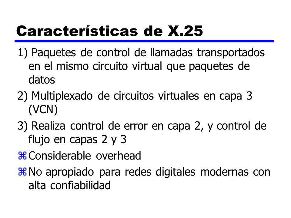 Características de X.25 1) Paquetes de control de llamadas transportados en el mismo circuito virtual que paquetes de datos 2) Multiplexado de circuit