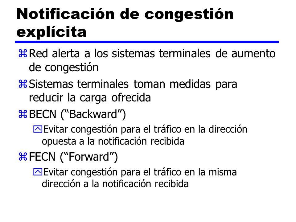 Notificación de congestión explícita zRed alerta a los sistemas terminales de aumento de congestión zSistemas terminales toman medidas para reducir la