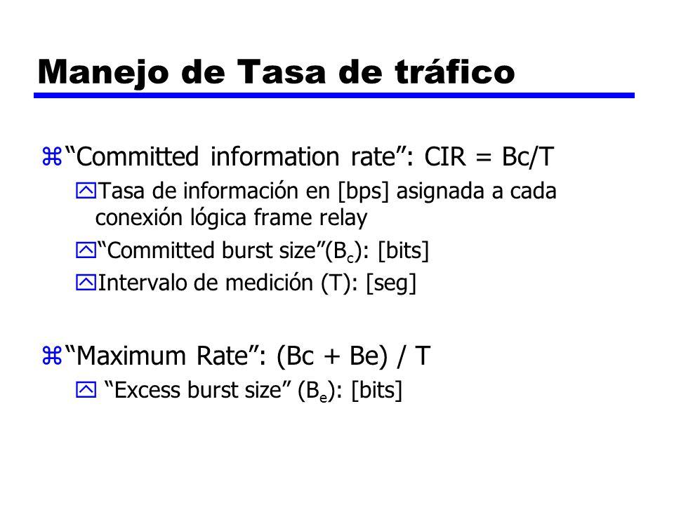 Manejo de Tasa de tráfico zCommitted information rate: CIR = Bc/T yTasa de información en [bps] asignada a cada conexión lógica frame relay yCommitted