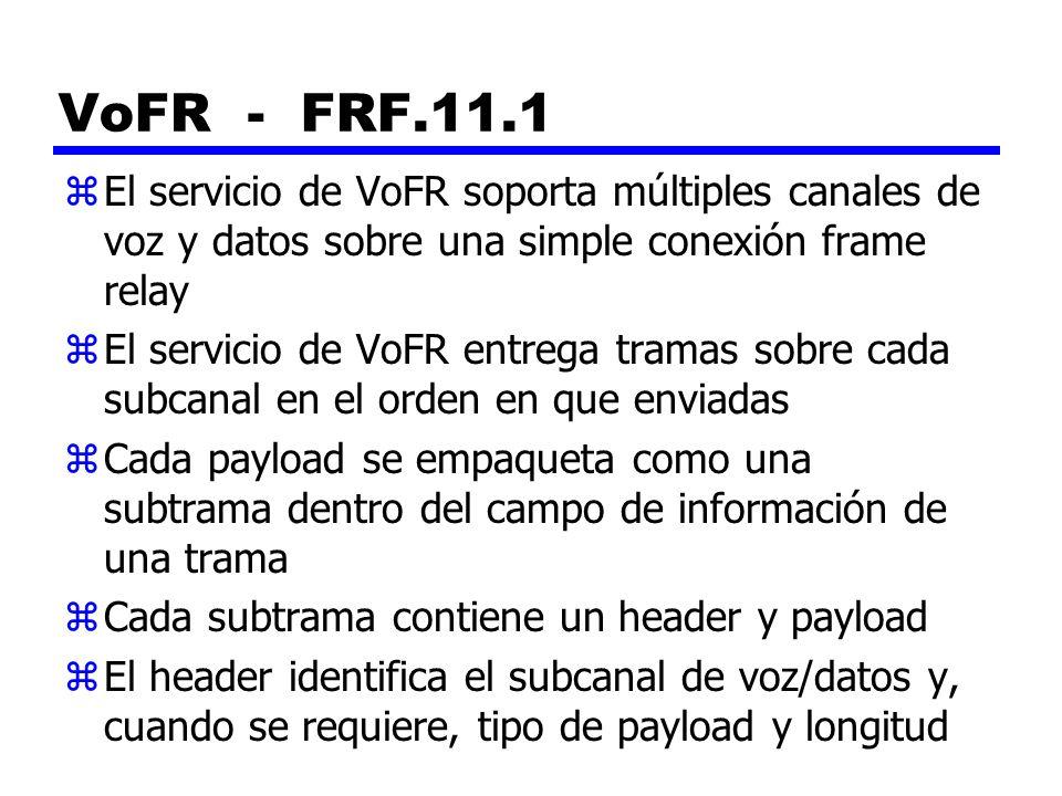VoFR - FRF.11.1 zEl servicio de VoFR soporta múltiples canales de voz y datos sobre una simple conexión frame relay zEl servicio de VoFR entrega trama