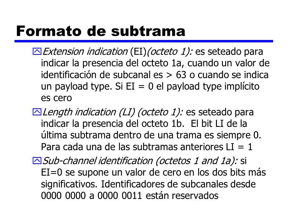 Formato de subtrama yExtension indication (EI)(octeto 1): es seteado para indicar la presencia del octeto 1a, cuando un valor de identificación de sub