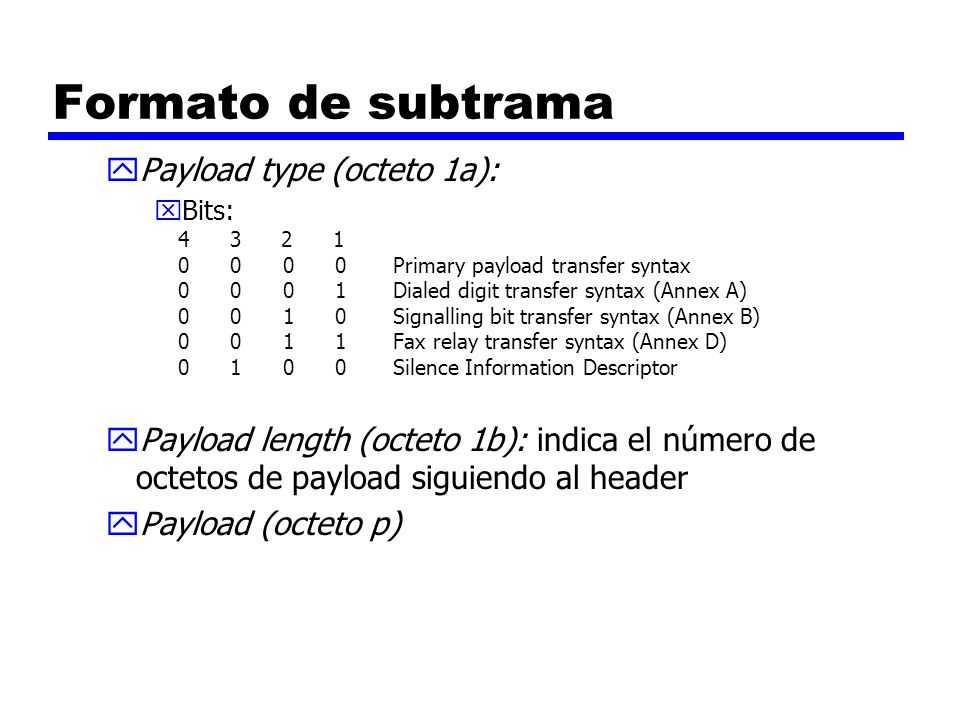 Formato de subtrama yPayload type (octeto 1a): xBits: 4 3 2 1 0 0 0 0 Primary payload transfer syntax 0 0 0 1 Dialed digit transfer syntax (Annex A) 0