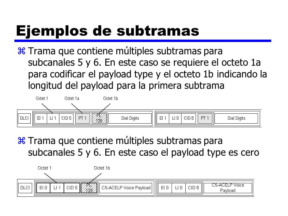 Ejemplos de subtramas zTrama que contiene múltiples subtramas para subcanales 5 y 6. En este caso se requiere el octeto 1a para codificar el payload t