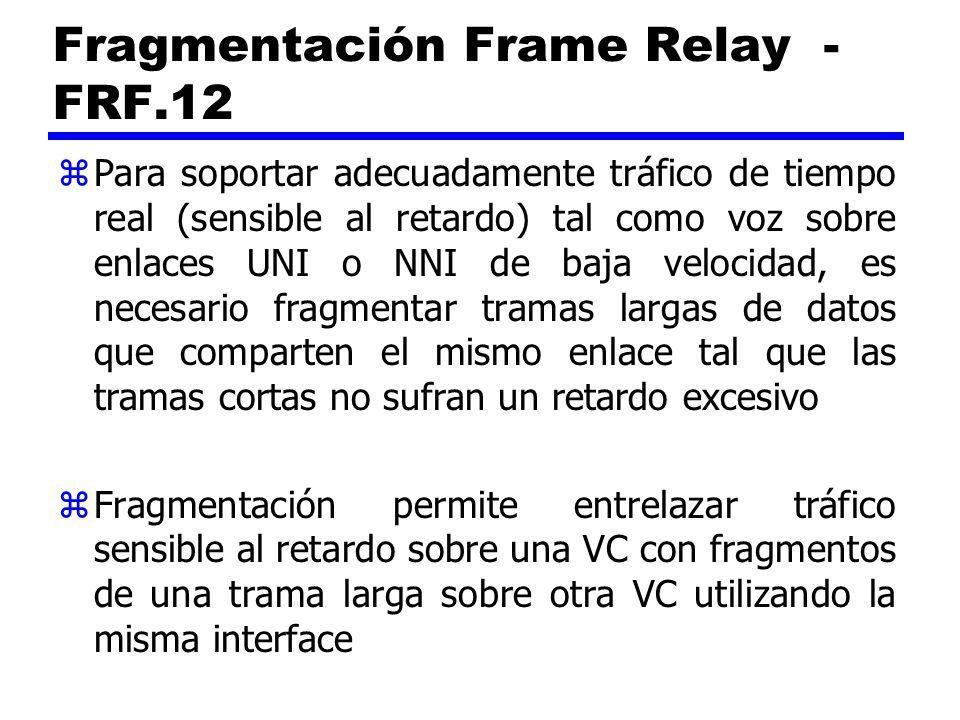 Fragmentación Frame Relay - FRF.12 zPara soportar adecuadamente tráfico de tiempo real (sensible al retardo) tal como voz sobre enlaces UNI o NNI de b