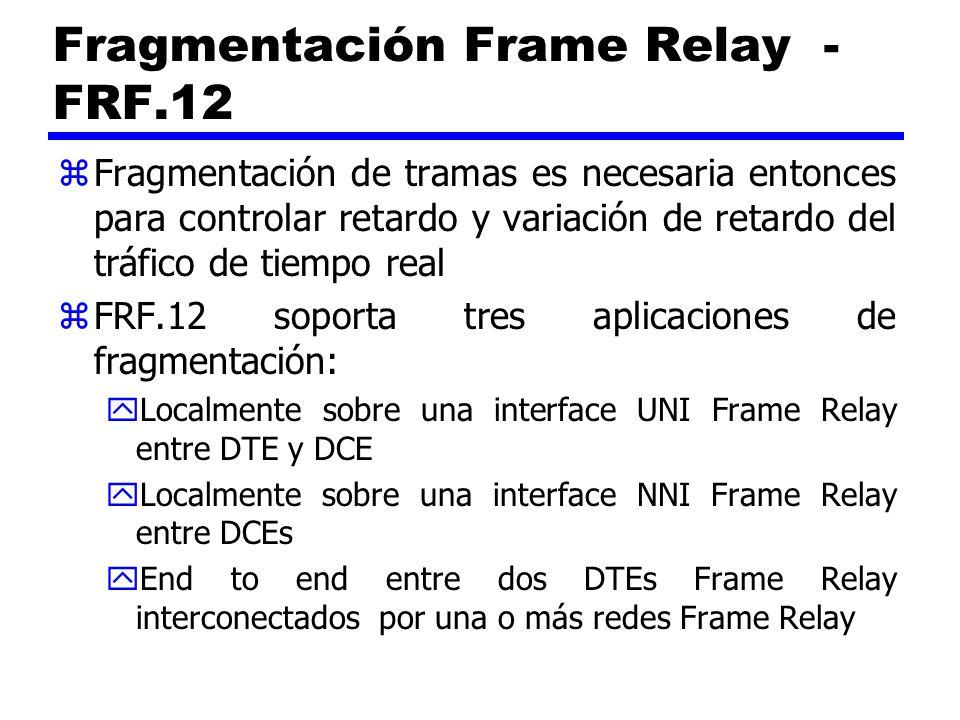 Fragmentación Frame Relay - FRF.12 zFragmentación de tramas es necesaria entonces para controlar retardo y variación de retardo del tráfico de tiempo