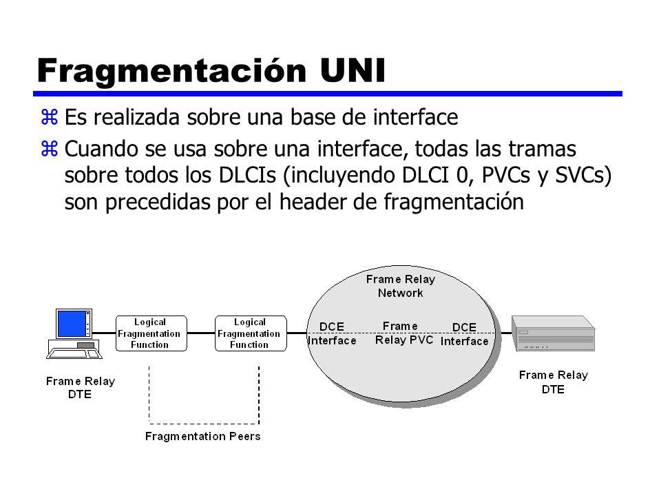 Fragmentación UNI zEs realizada sobre una base de interface zCuando se usa sobre una interface, todas las tramas sobre todos los DLCIs (incluyendo DLC
