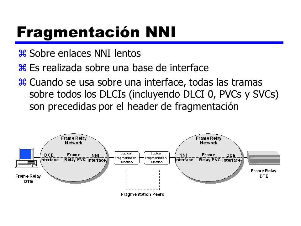Fragmentación NNI zSobre enlaces NNI lentos zEs realizada sobre una base de interface zCuando se usa sobre una interface, todas las tramas sobre todos