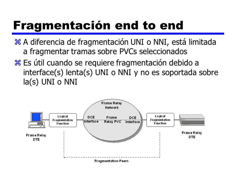Fragmentación end to end zA diferencia de fragmentación UNI o NNI, está limitada a fragmentar tramas sobre PVCs seleccionados zEs útil cuando se requi