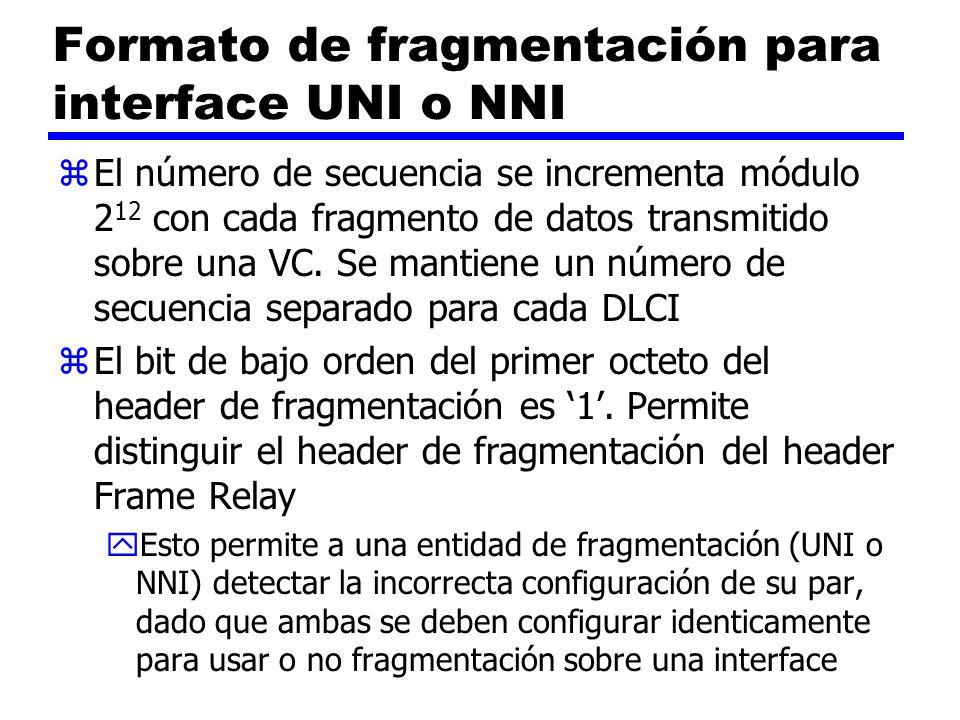 Formato de fragmentación para interface UNI o NNI zEl número de secuencia se incrementa módulo 2 12 con cada fragmento de datos transmitido sobre una