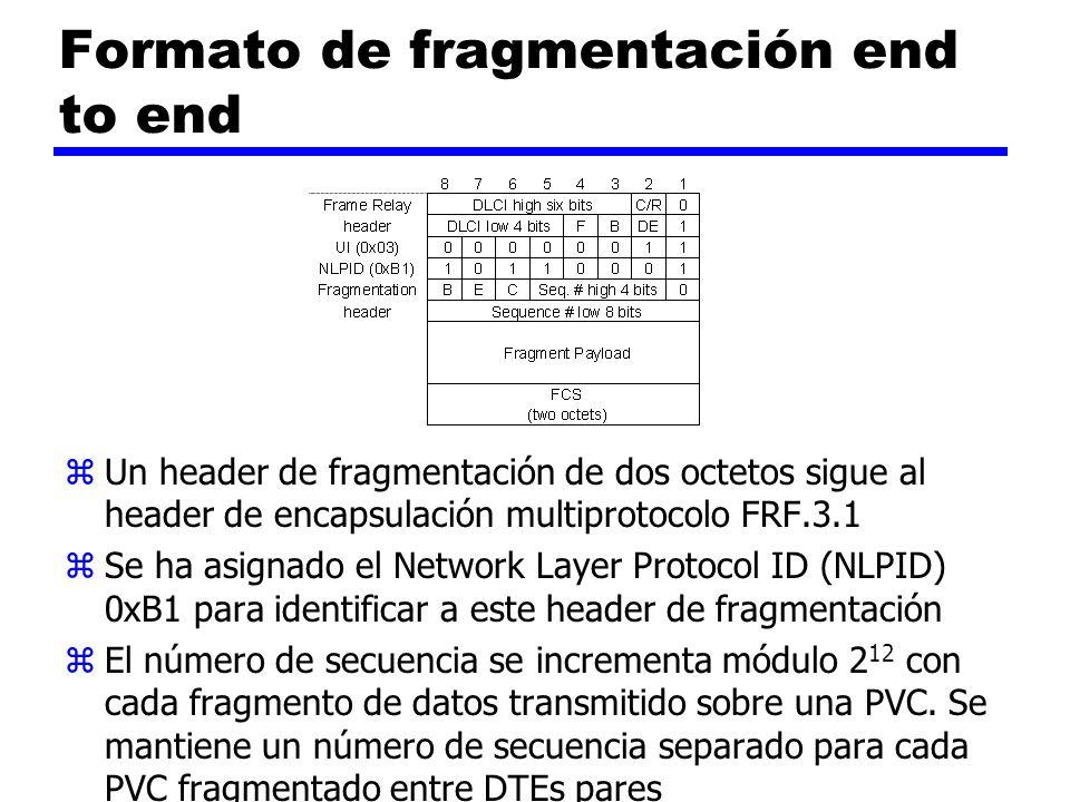 Formato de fragmentación end to end z Un header de fragmentación de dos octetos sigue al header de encapsulación multiprotocolo FRF.3.1 z Se ha asigna
