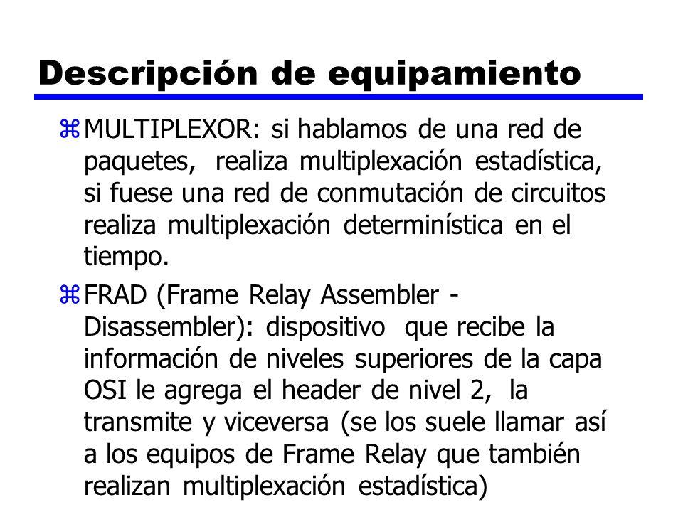 Descripción de equipamiento zMULTIPLEXOR: si hablamos de una red de paquetes, realiza multiplexación estadística, si fuese una red de conmutación de c