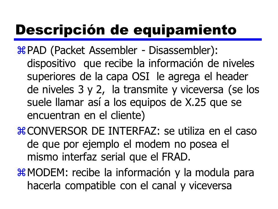 Descripción de equipamiento zPAD (Packet Assembler - Disassembler): dispositivo que recibe la información de niveles superiores de la capa OSI le agre
