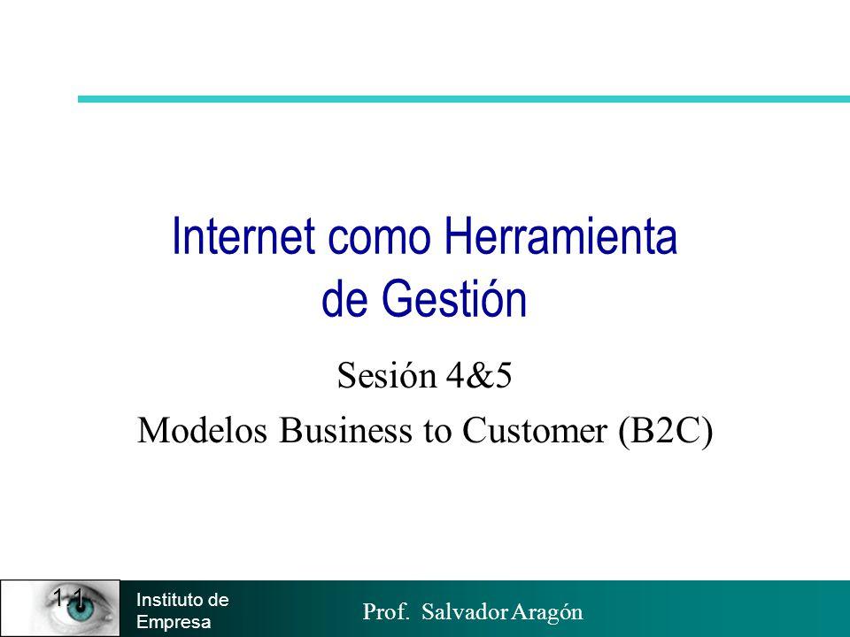 Prof. Salvador Aragón Instituto de Empresa 1.1 Internet como Herramienta de Gestión Sesión 4&5 Modelos Business to Customer (B2C)