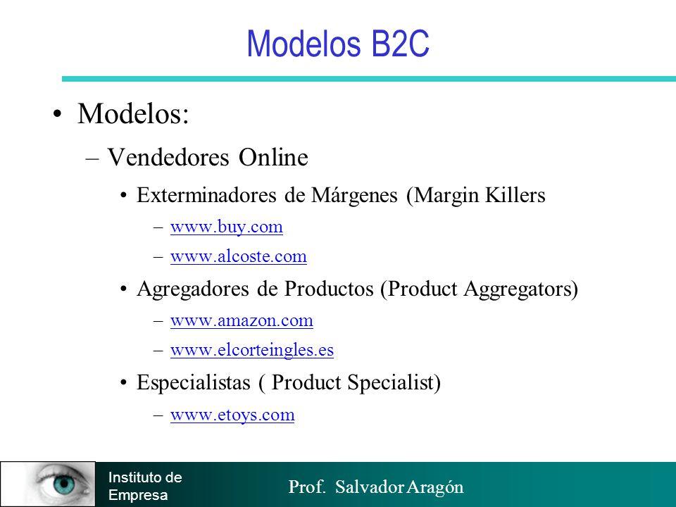 Prof. Salvador Aragón Instituto de Empresa Modelos B2C Modelos: –Vendedores Online Exterminadores de Márgenes (Margin Killers –www.buy.comwww.buy.com
