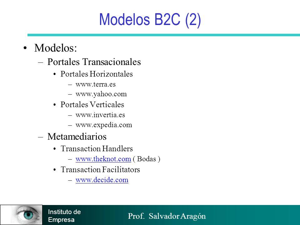Prof. Salvador Aragón Instituto de Empresa Modelos B2C (2) Modelos: –Portales Transacionales Portales Horizontales –www.terra.es –www.yahoo.com Portal