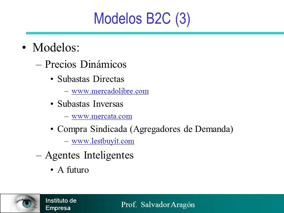 Prof. Salvador Aragón Instituto de Empresa Modelos B2C (3) Modelos: –Precios Dinámicos Subastas Directas –www.mercadolibre.comwww.mercadolibre.com Sub