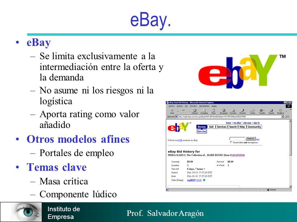 Prof. Salvador Aragón Instituto de Empresa eBay. eBay –Se limita exclusivamente a la intermediación entre la oferta y la demanda –No asume ni los ries