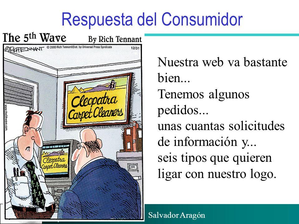 Prof. Salvador Aragón Instituto de Empresa Respuesta del Consumidor Nuestra web va bastante bien... Tenemos algunos pedidos... unas cuantas solicitude