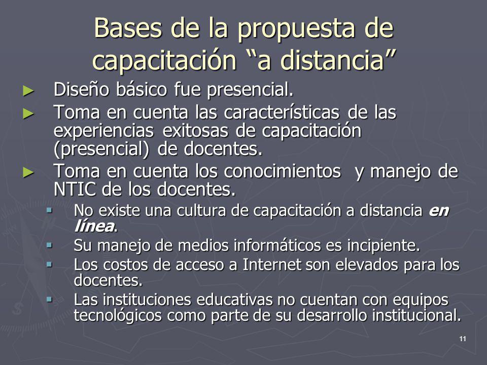 11 Bases de la propuesta de capacitación a distancia Diseño básico fue presencial. Diseño básico fue presencial. Toma en cuenta las características de
