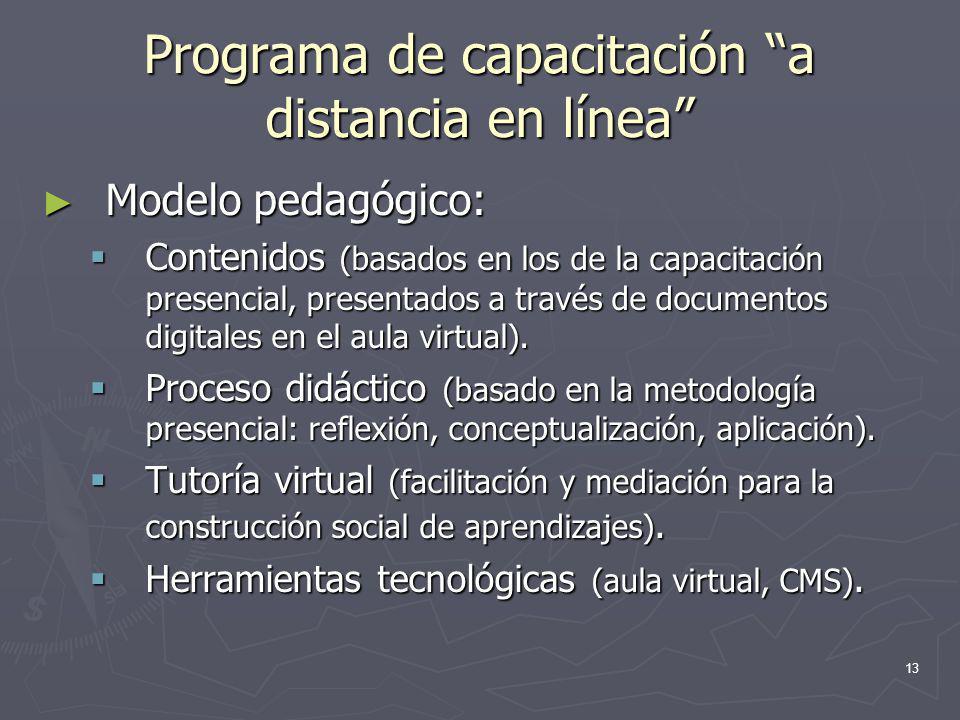 13 Programa de capacitación a distancia en línea Modelo pedagógico: Modelo pedagógico: Contenidos (basados en los de la capacitación presencial, prese
