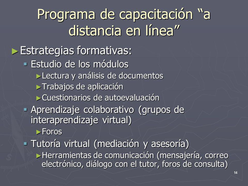 14 Programa de capacitación a distancia en línea Estrategias formativas: Estrategias formativas: Estudio de los módulos Estudio de los módulos Lectura