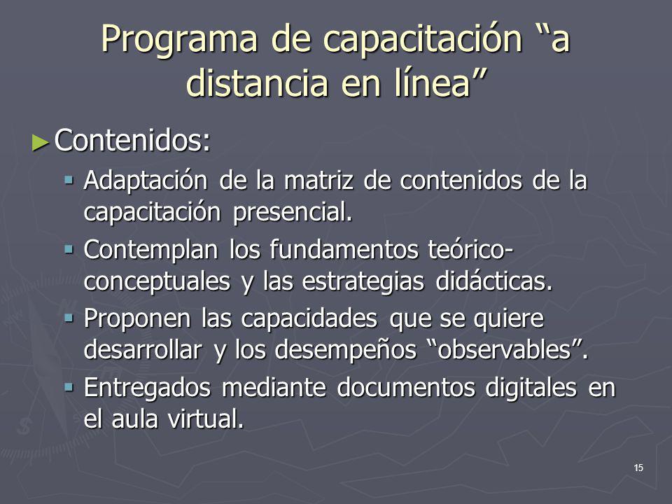 15 Programa de capacitación a distancia en línea Contenidos: Contenidos: Adaptación de la matriz de contenidos de la capacitación presencial. Adaptaci