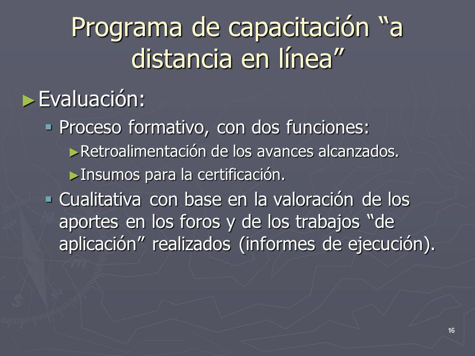 16 Programa de capacitación a distancia en línea Evaluación: Evaluación: Proceso formativo, con dos funciones: Proceso formativo, con dos funciones: R