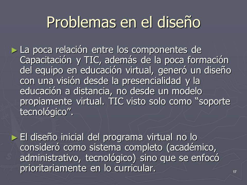 17 Problemas en el diseño La poca relación entre los componentes de Capacitación y TIC, además de la poca formación del equipo en educación virtual, g