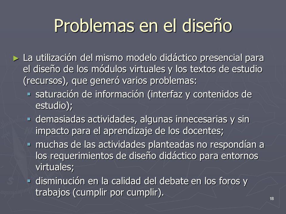 Problemas en el diseño La utilización del mismo modelo didáctico presencial para el diseño de los módulos virtuales y los textos de estudio (recursos)