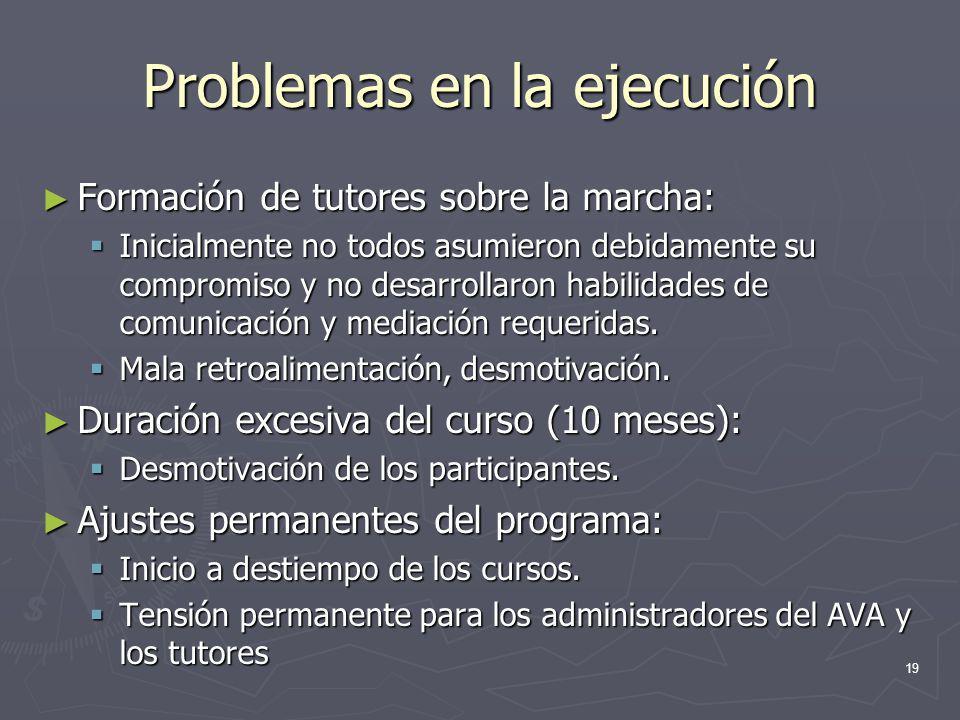 19 Problemas en la ejecución Formación de tutores sobre la marcha: Formación de tutores sobre la marcha: Inicialmente no todos asumieron debidamente s