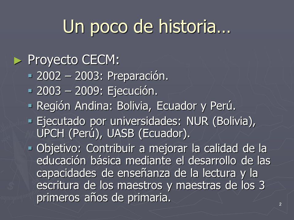 2 Un poco de historia… Proyecto CECM: Proyecto CECM: 2002 – 2003: Preparación. 2002 – 2003: Preparación. 2003 – 2009: Ejecución. 2003 – 2009: Ejecució