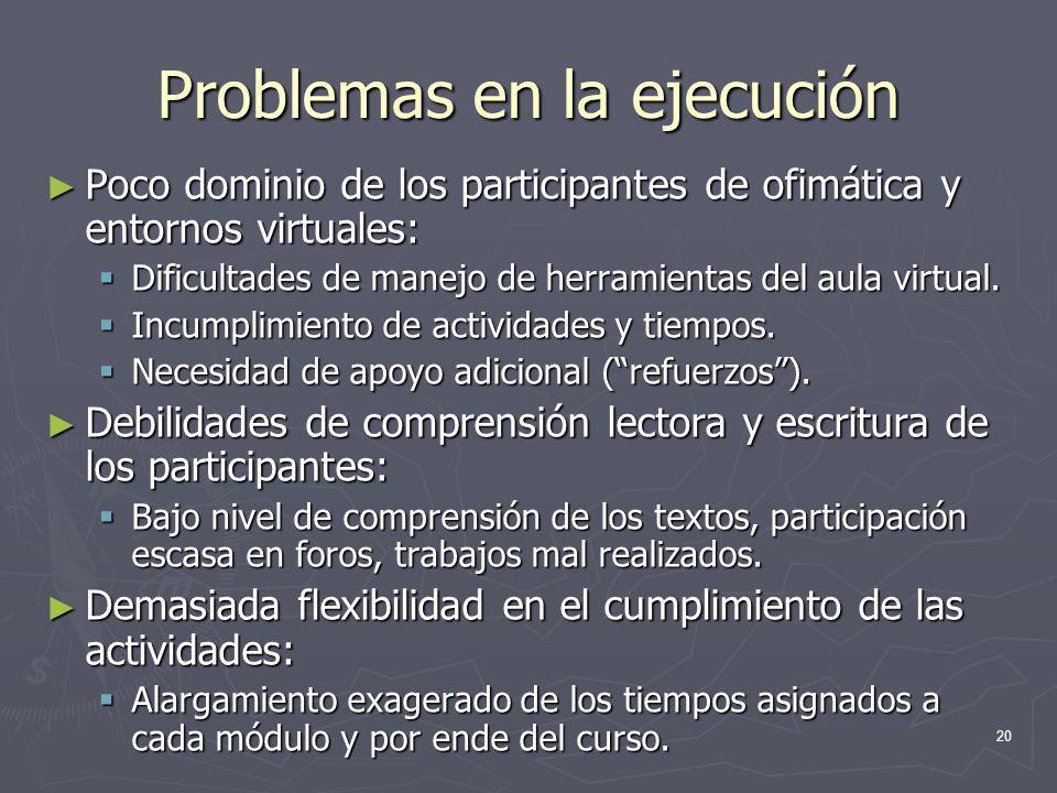 20 Problemas en la ejecución Poco dominio de los participantes de ofimática y entornos virtuales: Poco dominio de los participantes de ofimática y ent