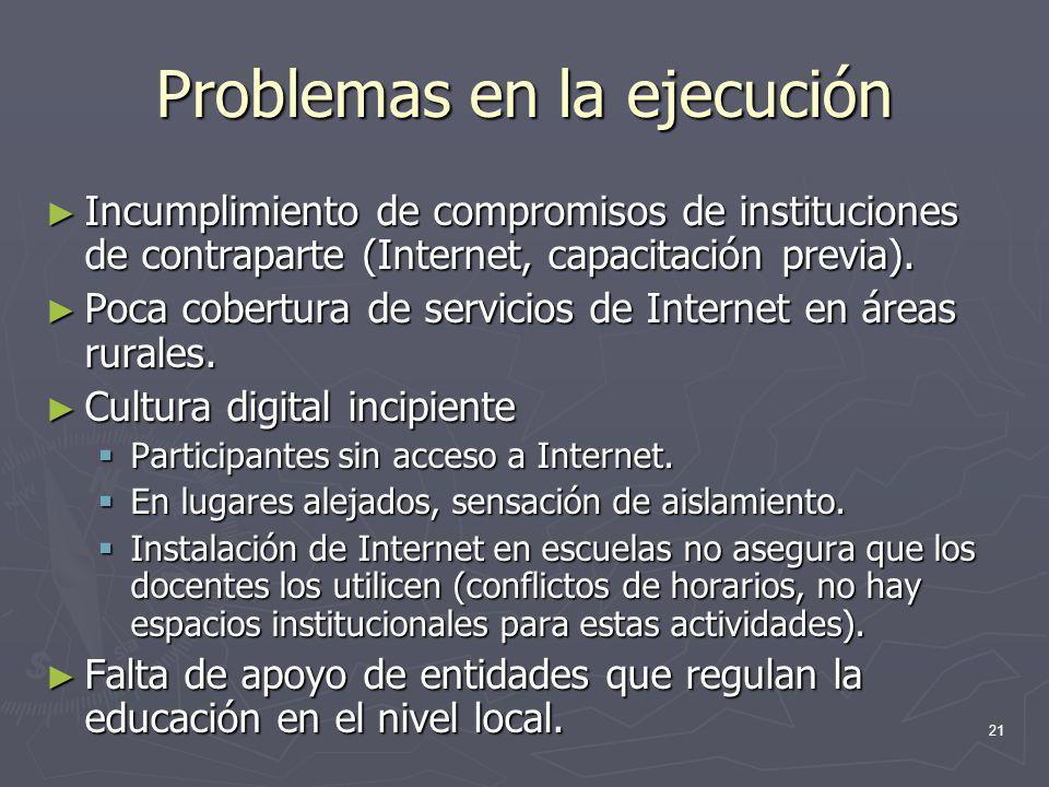 21 Problemas en la ejecución Incumplimiento de compromisos de instituciones de contraparte (Internet, capacitación previa). Incumplimiento de compromi