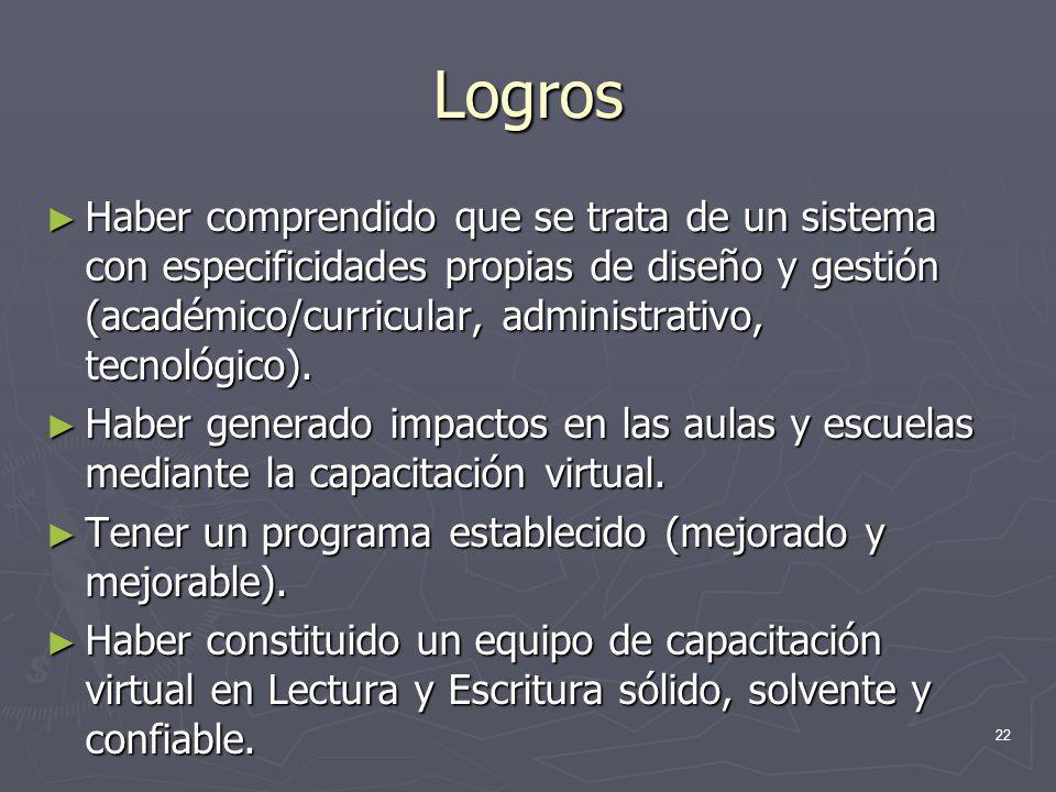 22 Logros Haber comprendido que se trata de un sistema con especificidades propias de diseño y gestión (académico/curricular, administrativo, tecnológ