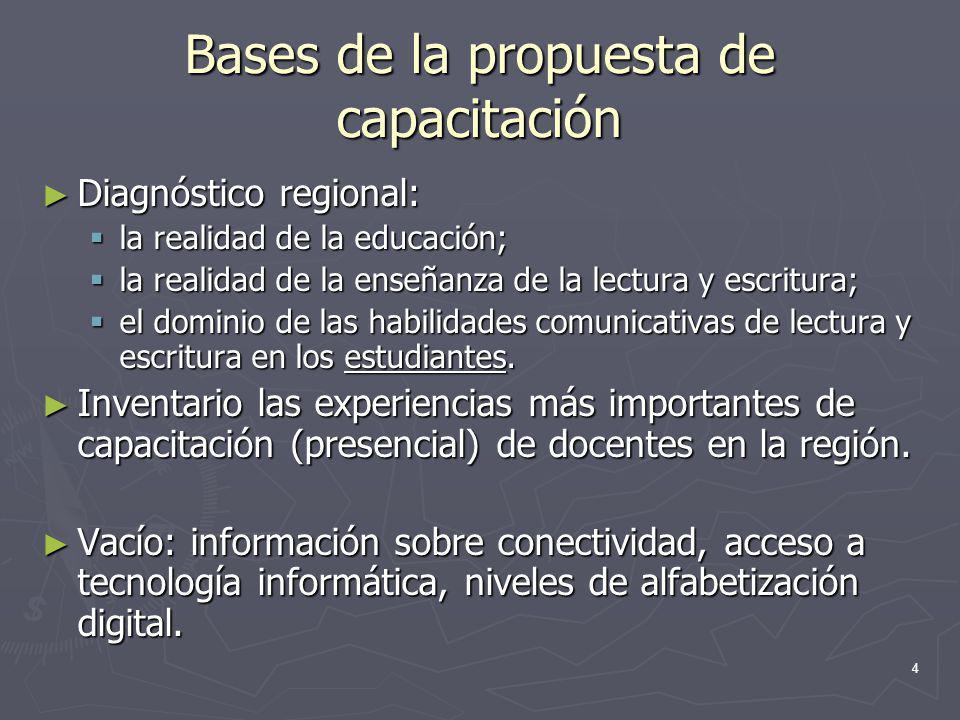 4 Bases de la propuesta de capacitación Diagnóstico regional: Diagnóstico regional: la realidad de la educación; la realidad de la educación; la reali